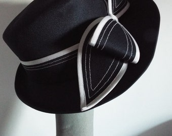 Vintage Ladies Hat Navy and White ASymmetric Brimmed Dress Hat with large Bow Front