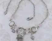 Natural Magick - Made to Order, Pagan Choker - Black Pentacle Choker - Rose Quartz Pentagram Necklace, multiple colors available