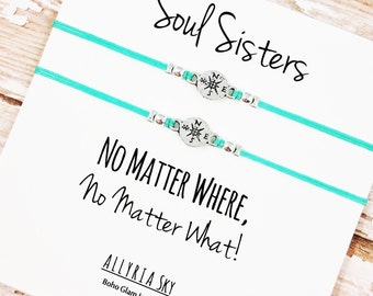 "Set of Two Charm Friendship Bracelets with ""Soul Sisters"" Card 