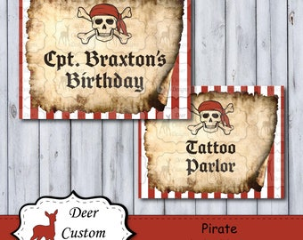 Pirate Birthday Party Signs | Pirate Decorations | Pirate Party | Personalized Party Signs | Printable Signs | Customizable Party Decoration