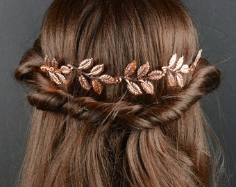 ROSE GOLD Bridal Comb Crystal Hair Comb Rhinestone Headpiece Wedding Hair Accessories Lily Bridal rose gold hair vine Comb Crystal Hair Comb