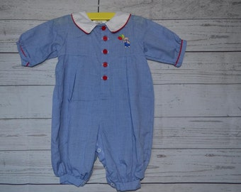 Vintage Alexis Baby Boy Teddy Bear Romper Blue and White Age 3 Months Made in USA