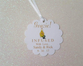 GRAZIE Olive Oil Favor Tags *Wedding Favor Tags *Olive Oil Gift Tag *Grazie Infused with Love Favor Tags *PERSONALIZED *w/White Satin Ribbon