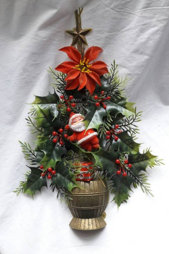 Vintage christmas wall decor tree wreath home