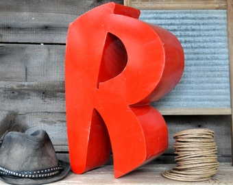 Sign Letters Metal Letters Decor Industrial Salvage Architectural Salvage Letter R Industrial Decor Wall Letters Red Letters Aluminum Letter