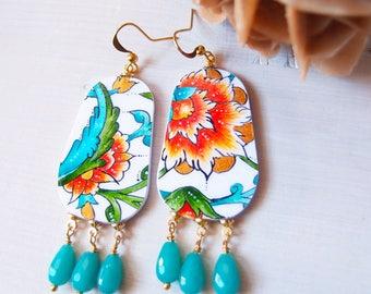 painted earrings GREEN POPPY, statement earrings with Tezhip motif, paper painted earrings, lightweight colorful earrings, folk earrings