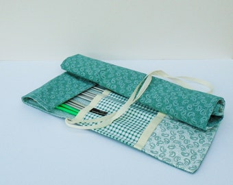 Fabric Needle Holder, Handmade Tool Roll, Knitting Needle Case, Notions Organiser, Large Tool Storage, Crochet Hook Holder, Fabric Tool Roll