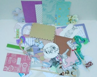 Papercraft Accessory, Scrapbook Ephemera, Card Making Kit, Junk Journal Add Ons, Smash Book Kits, Various Die Cuts, Hand Stamped Images,