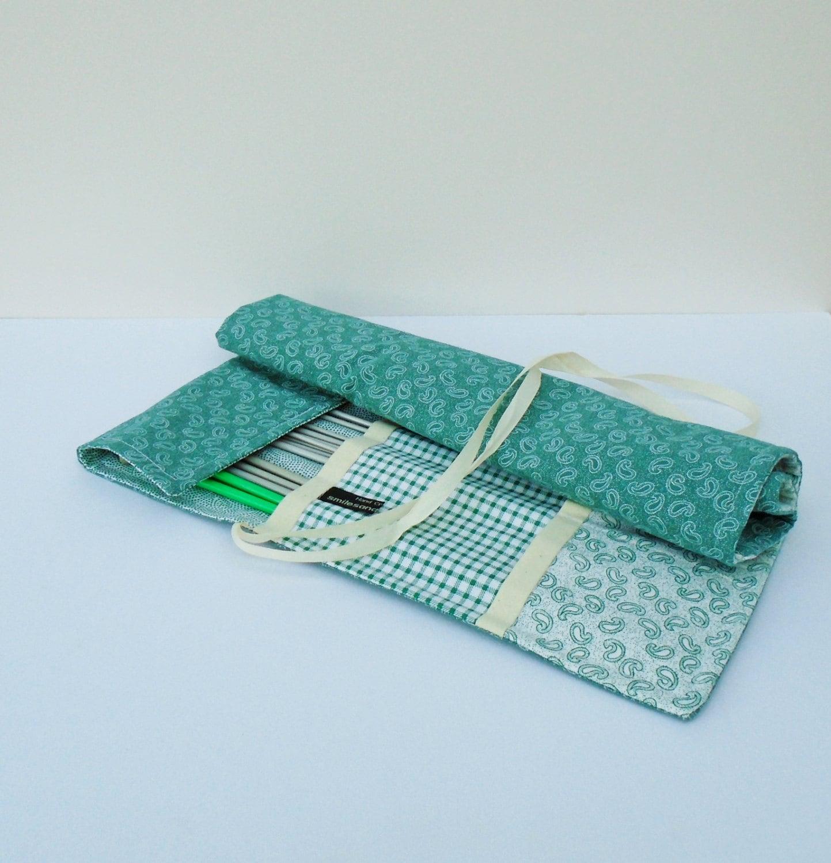 Knitting Needle Storage Roll : Fabric needle holder handmade tool roll knitting