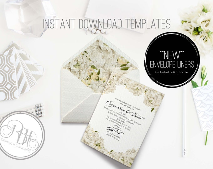 White Peonies Invite/Envelope Liner-INSTANT DOWNLOAD Template-Wedding 5x7 PDF & Psd Editable Text Only-White Peonies-Renee