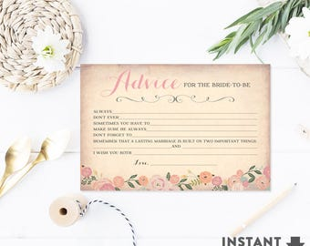 Bridal Shower Advice Card Fill in the Blank Advice Card,  Floral Bridal Shower Games Printable (Instant Download) No.30BRIDE