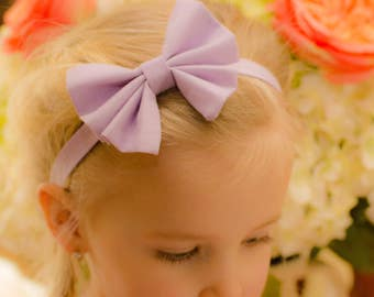 Girls Headband Bows - 50+ Solid Colors - Flowergirls - Special Occasions - Easter - Girls Accessories - Elasticized Band - Photos -Miss Lily