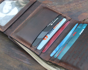 Engraved Mens Trifold Leather Wallet, Handmade Brown Leather Wallet, Boyfriend Gift, Birthday Gift, Third Anniversary, Custom wallet, VD044