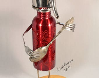 """Music lovers gift. Guitar player, metal, jazz musician, robot sculpture made using recycled materials. """"The Commodore"""""""