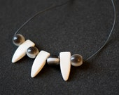 Reconstructed Grey Tie Necklace with Grey and White Beads!