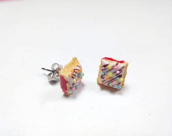 Strawberry Toaster Pastry Studs, Pastry Studs, Strawberry Jelly Pastry Earrings, Food Earrings, Polymer Clay Food