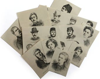 Vintage faces, a collection of 23 piece illustrated faces. Vintage ephemera for art, craft or scrapbooking.