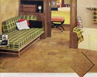 1957 Kentile Floors Ad - Retro Cork Floor Tiles - 1950s Home Decor Ideas - Bathroom With Plaid Couch / Platform Bed