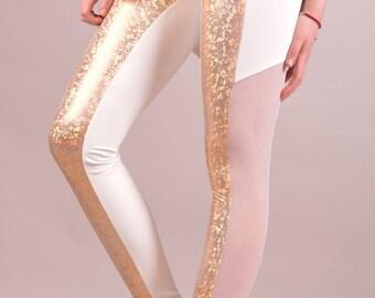 Boho Leggings, Club Wear, Latex Leggings, Pole Dance Clothing, Summer Leggings, Metallic Leggings, Dance Leggings, White Leggings