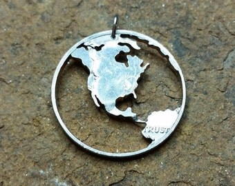 Earth globe hand cut coin