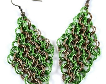 Minimaille Chainmaille Earrings Antique Brass Lime Green with Brass Earring Hook Made To Order