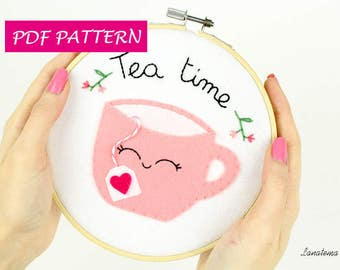 """Embroidery pattern Pdf 6"""" bamboo hoop, Cup of tea, pink felt, DIY hand embroidery, digital file instant download, needlecraft design, art"""
