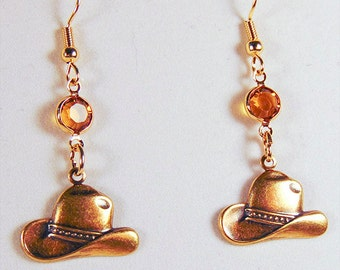BRASS COWBOY HAT, cowboy hat earrings, cowboy hat jewelry, brass charm, brass earrings, topaz crystal, Swarovski crystal, cowboy hat - 1760