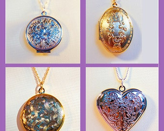 LOCKETS, silver lockets, gold lockets, round lockets, oval locket, heart locket, locket jewelry, round jewelry, heart jewelry - 1780