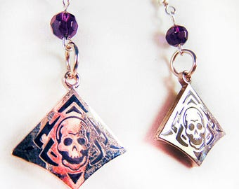 SKULL EARRINGS, skull jewelry, Halloween earrings, Halloween jewelry, deep purple bead, purple jewelry, black and silver - 1846H