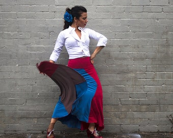 SWIRL Skirt in burgundy, teal and mocha