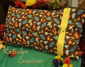 Brown and Plaid Yellow, Orange, Blue, and Green Dinosaurs Pillowcases