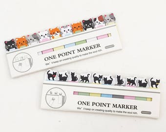 Mini Sticky Note Set - Colorful / Black Cats (15 Sheets x 10 pcs) Korean Stationery Cute Post It Note Sticky Notes N0295