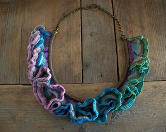 Elfy .... Crocheted necklace in beautiful gradient colors.