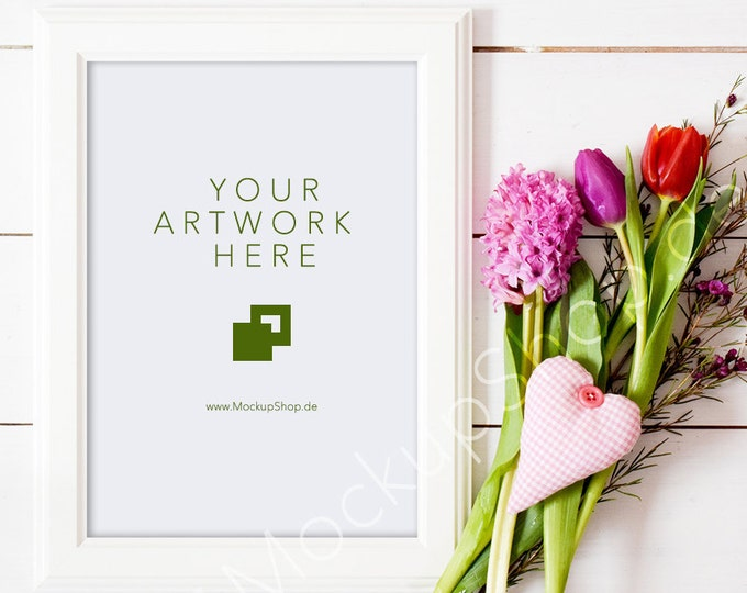 "VALENTINES DAY MOCKUP 5x7"" / 10x14"" / spring flowers / valentines day / white empty frame mockup / flower frame mockup / vertical frame"