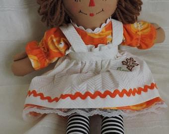 Raggedy Ann Doll, 15 inches, Handmade, Cloth Doll, Pumpkin fabric