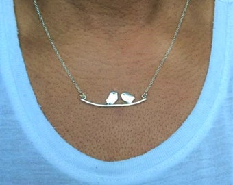 Birds on a branch necklace, Bird Necklace, Silver Bird Necklace, Mother's Day Gift