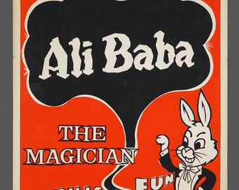 1960s Screenprint Ali Baba The Magician Magic Show Poster Genuine Illusionist 14 x 22