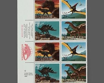 Set of 16 1989 25c Prehistoric Animals Dinosaurs Postage Stamps Scott 2422 2423 2424 2425