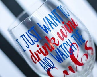 Chicago Cubs Wine Glass