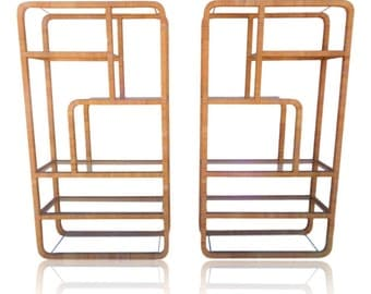 VVH Vintage Pair Rattan Wrapped Etageres in Franco Albini or Milo Baughman Style Mid Century Modern Wall Unit Shelving Palm Beach Coastal