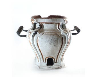French Indoor Brazier, Clay Terracotta White Glazed Earthenware East of France