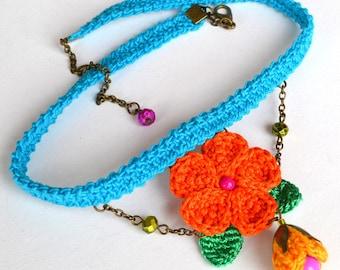 colorful choker necklace, turquoise choker, orange choker,  mexican choker, statement choker, dainty choker, flower choker, crochet choker