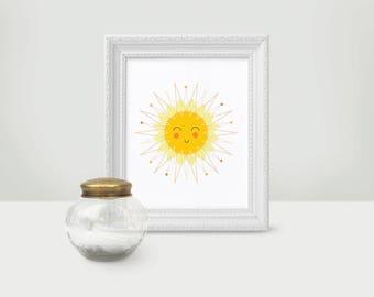 PDF Printable Nursery Decor | 8x10 | Instant Download | Sun illustration art print | Sunshine Sky Sunny decor, baby shower new baby gift