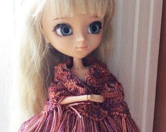 Merino wool shawl purple-orange, fringes all around, for Pullip, Barbie, Momoko and similar size of dolls