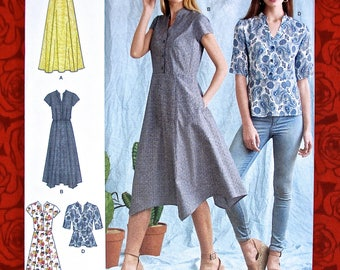 Simplicity Sewing Pattern 8384 Shirt Dress, Top, Hankie Hem & Maxi Length, Plus Sizes 16 18 20 22 24, DIY Summer Fall Casual Fashions, UNCUT