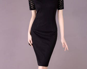 Women's Plus Size Clothing Made to Measure Black Dress with Cut-out Sleeve Elegant Formal Dress Office Wear Custom Suits  CC120