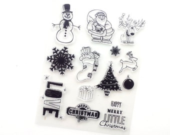 Christmas clear stamps, set of 12 stamps in different sizes, cling stamps
