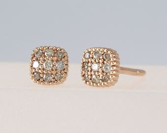 Champagne Diamond Studs Earrings, Diamonds Earrings, Small Stud Earrings, Minimalist Earrings, Geometric Earrings