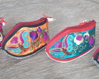 100 % Handmade Embroidered Bag/Unique Coin Bag/Karen Bag/Coin Bag/Embroidered Karen Bag/Hmong Coin Bag/Karen Coin Bag/Baby Shoes/Karen Shoes