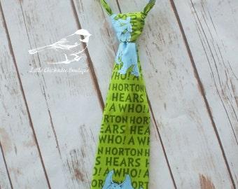 SALE! Boys size 6 tie  boys Dr Suess Horton green blue kids tie boys tie velcro tie ready to ship one of a kind OOAK kids tie